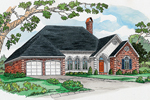 Ranch With Stucco And Brick Exterior Includes Three Arched Windows