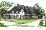 Formal Country French Home Has Interesting Front Entry And Oval Topped Dormers