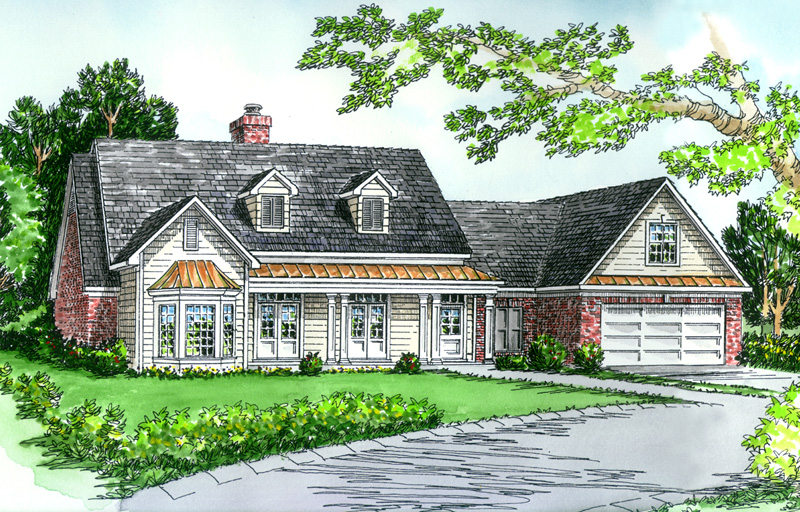 Traditional Style Home Has Copper Roof on Bay Window And Covered Front Porch