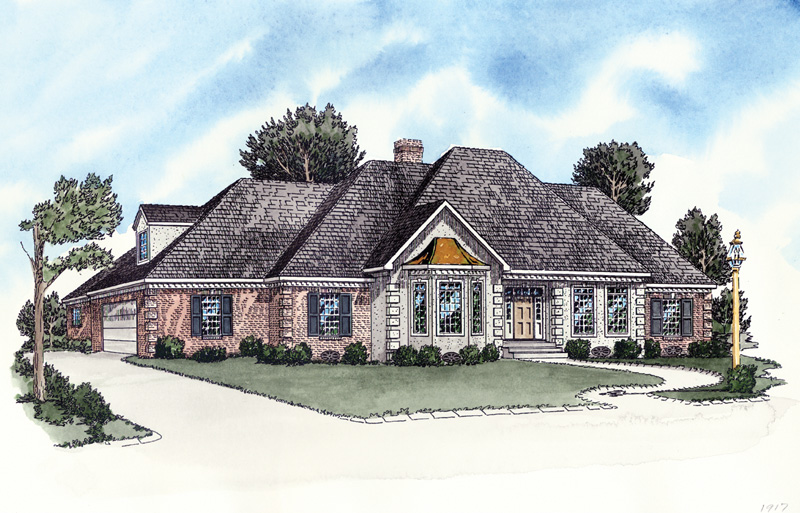 Elegantly Designed Ranch With Stucco And Brick Exterior