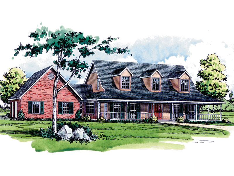 Great Country Home With Triple Dormers And Covered Front Porch