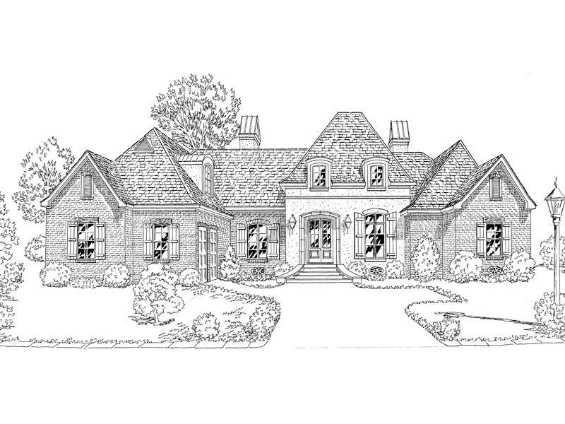 Country French Home Plan Front of Home - 092D-0233 | House Plans and More