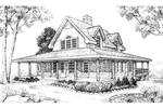 Old-Fashioned Farmhouse Style Two-Story With Wrap-Around Covered Porch