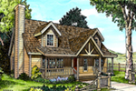 Rustic Cabin Style Home Has Eye-Catching Dormers And Gabled Front Entry