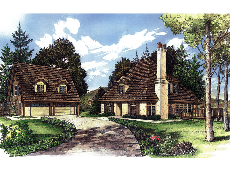 English Cottage Style Home With Detached Garage With Dormers