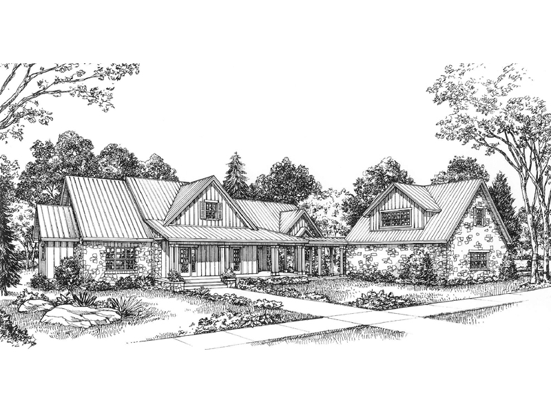 Country House Plan Front of Home 095D-0040