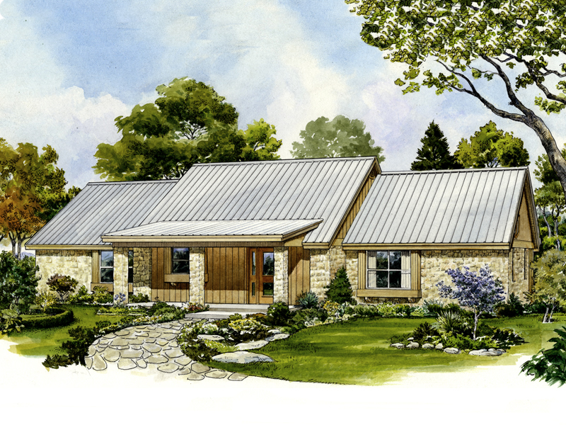 Ranch House Plan Front of Home - 095D-0042 | House Plans and More