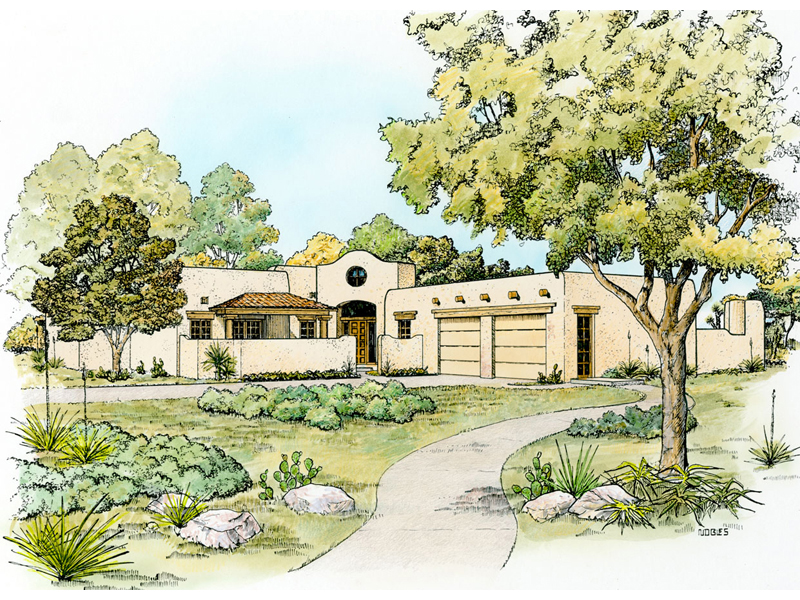 Santa Fe House Plan Front of Home - 095D-0044 | House Plans and More