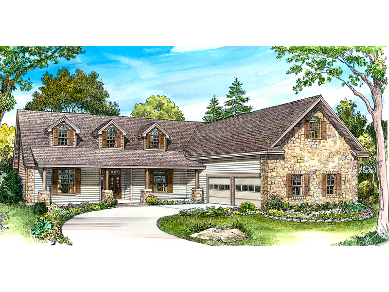 Ranch House Plan Front of Home - 095D-0047 | House Plans and More