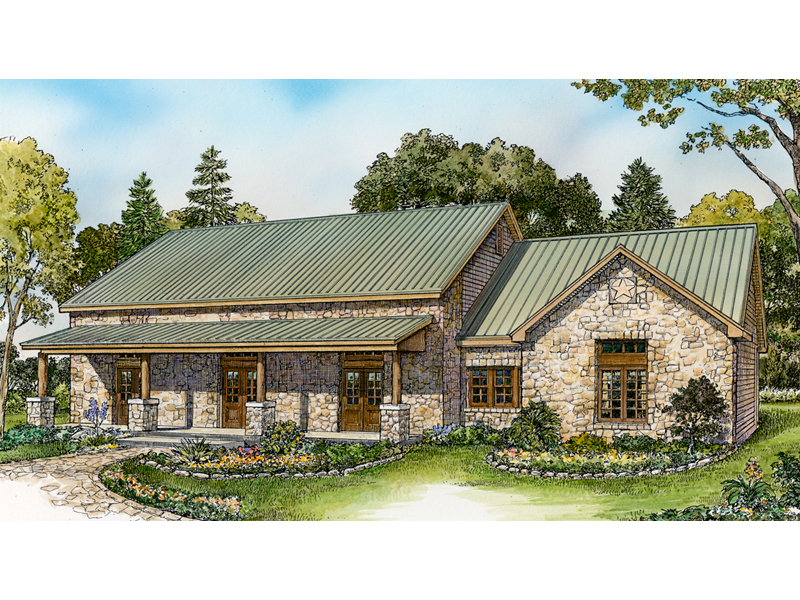 Ranch House Plan Front of Home - 095D-0049 | House Plans and More