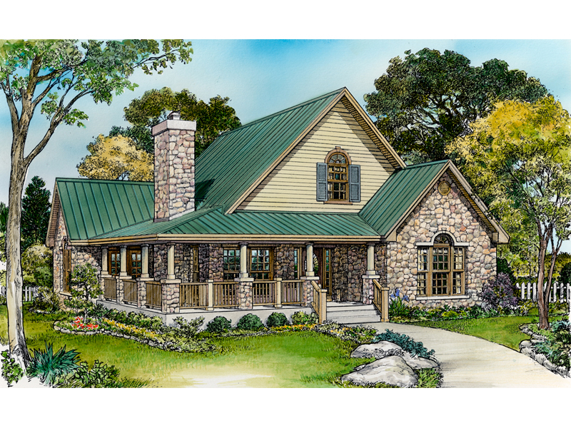 Farmhouse Plan Front of Home - 095D-0050 | House Plans and More