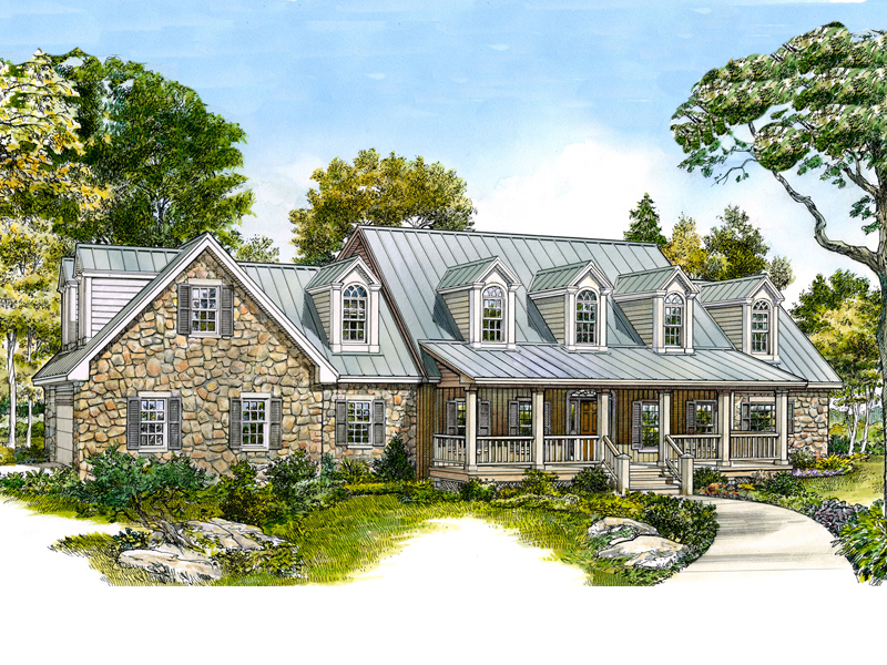 Farmhouse Plan Front of Home - 095S-0001 | House Plans and More