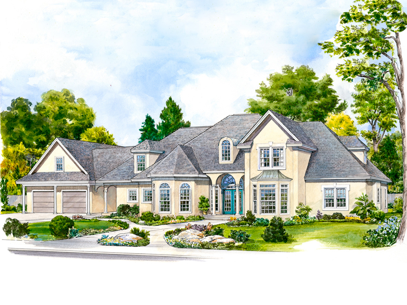 Country French Home Plan Front of Home - 095S-0003 | House Plans and More