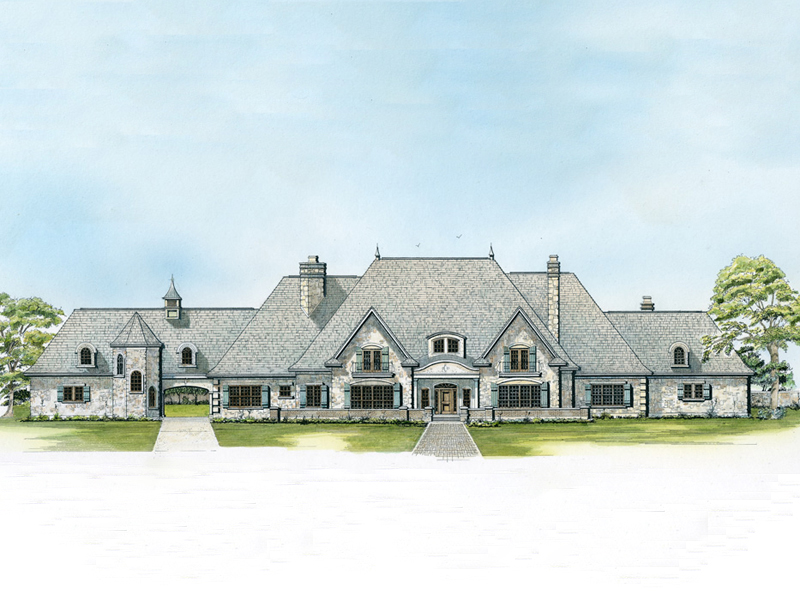 Country French Home Plan Front of Home 095S-0004