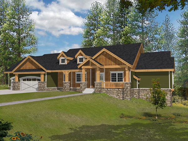 Muirfield castle rustic home plan 096d 0038 house plans for Rustic craftsman house plans