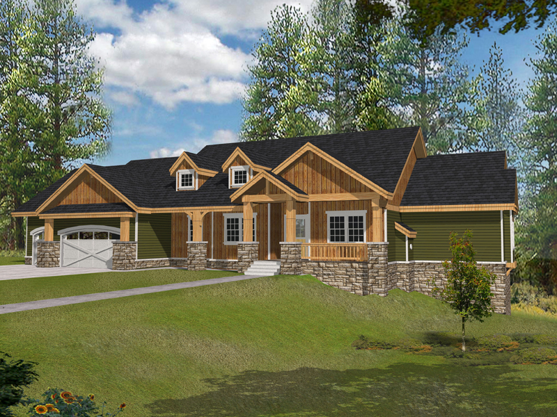 rustic craftsman style ranch house with stone accents - Ranch Home Plans