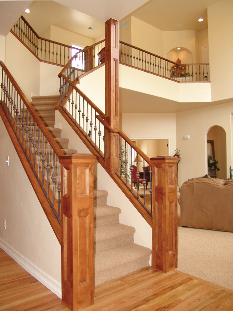 Unique staircase combines wood and iron.