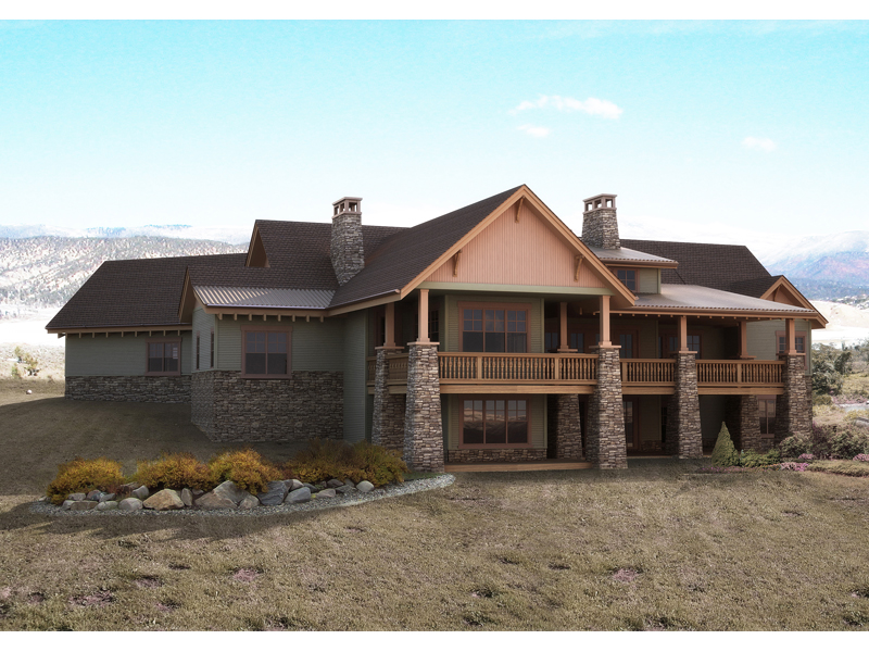 Mountain Home Plan Rear Photo of House 101S-0018