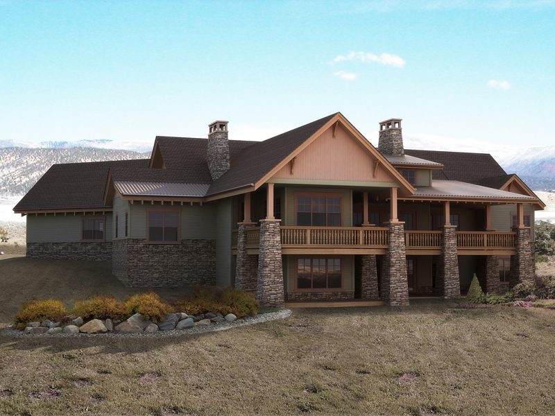 Mountain Home Plan Rear Photo 01 - 101S-0018 | House Plans and More