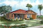Floridian Style Ranch With Stucco Exerior And Arched Front Windows