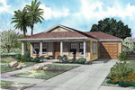 Casual Florida Style Bungalow With Covered Porch