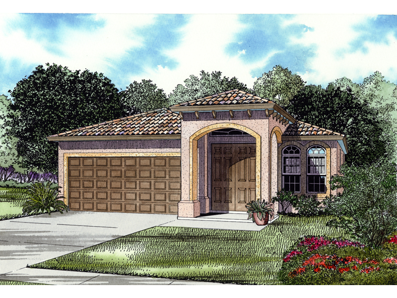 Stucco Ranch House Has Grand Front Entry