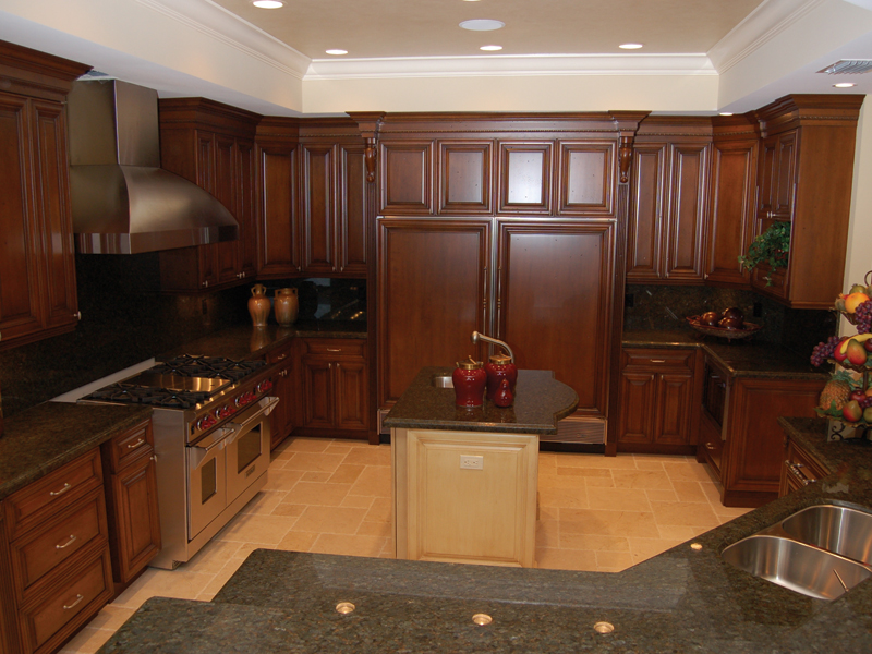 kitchen with rich wood cabinetry
