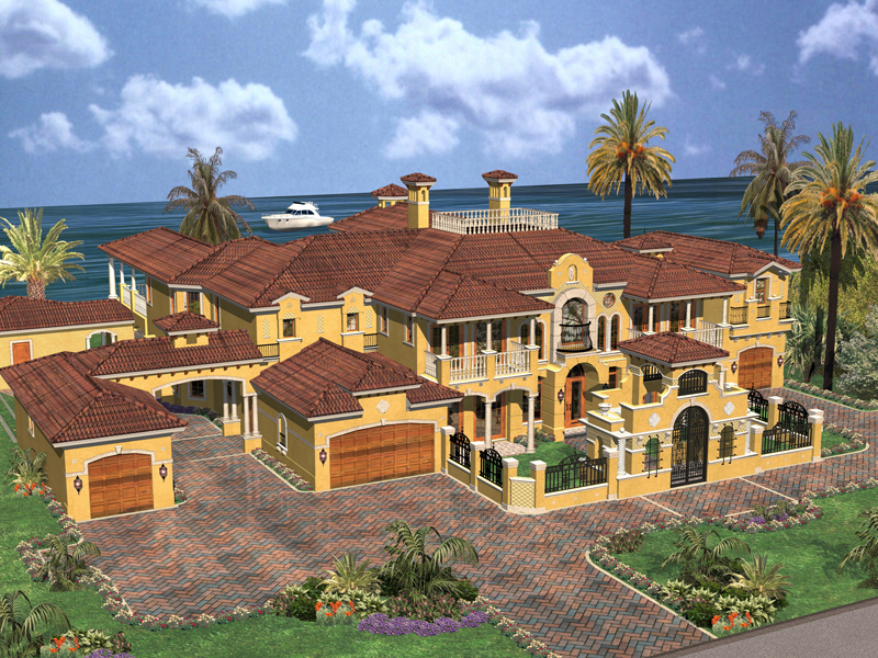 spanish mediterranean multi level mansion - 6 Car Garage