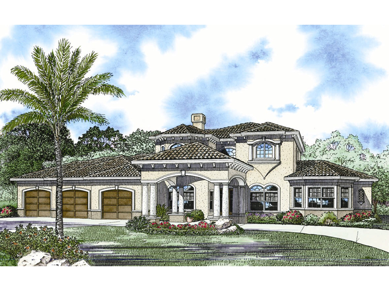 Luxury Stucco Two-Story With Prominent Portico
