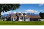 Rustic Country House With Covered Front Porch And Two Dormers