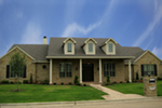 Traditional Country Style One Story With Triple Dormers And Covered Porch
