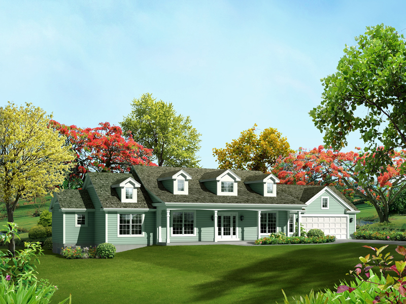 Ranch House Plan Front of Home 121D-0003