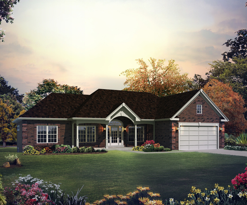 Ranch House Plan Front of Home 121D-0005