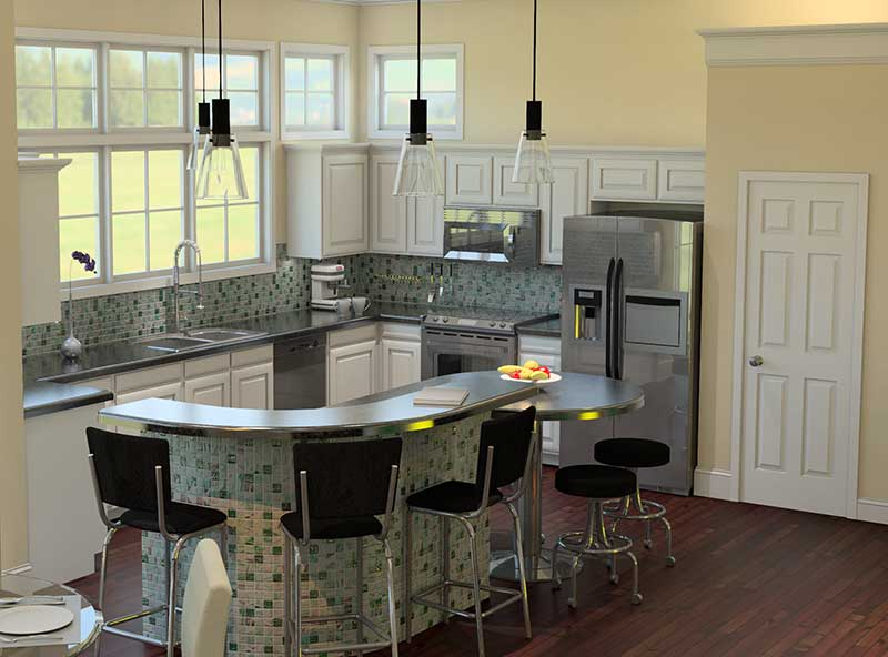 Cape Cod and New England Plan Kitchen Photo 02 - 121D-0006 | House Plans and More