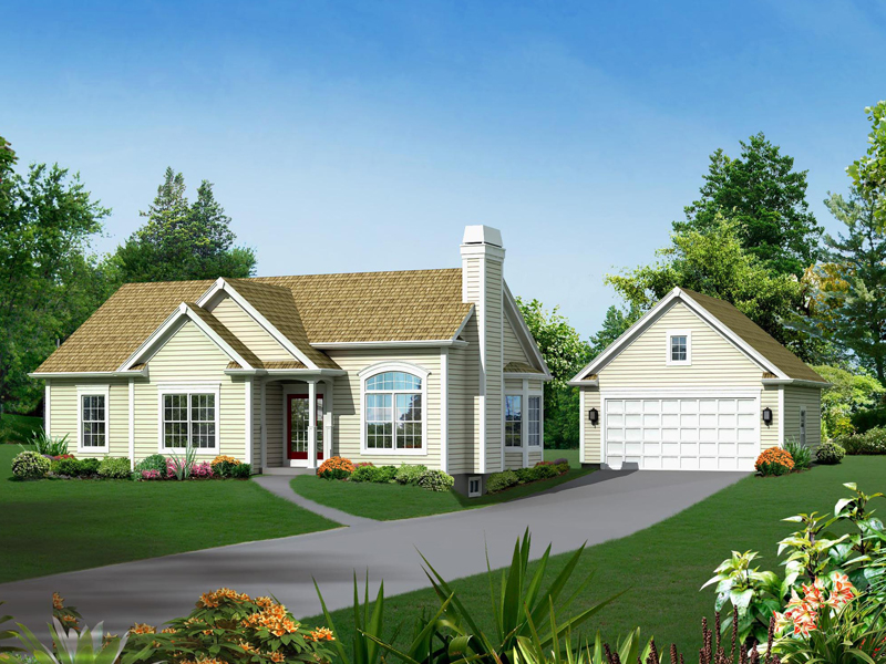 Ranch House Plan Front of Home 121D-0007