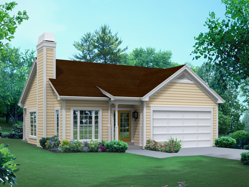 Ranch House Plan Front of Home 121D-0010