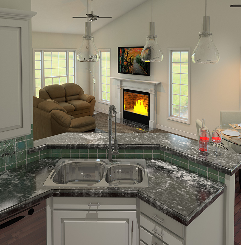 Traditional House Plan 3D Kitchen 121D-0010
