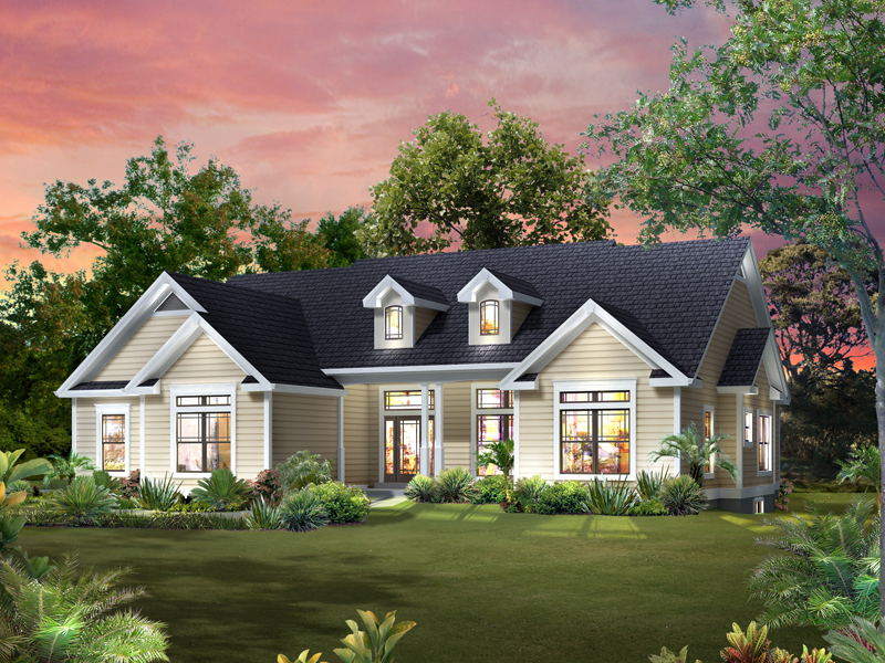 Ranch House Plan Front of Home 121D-0011