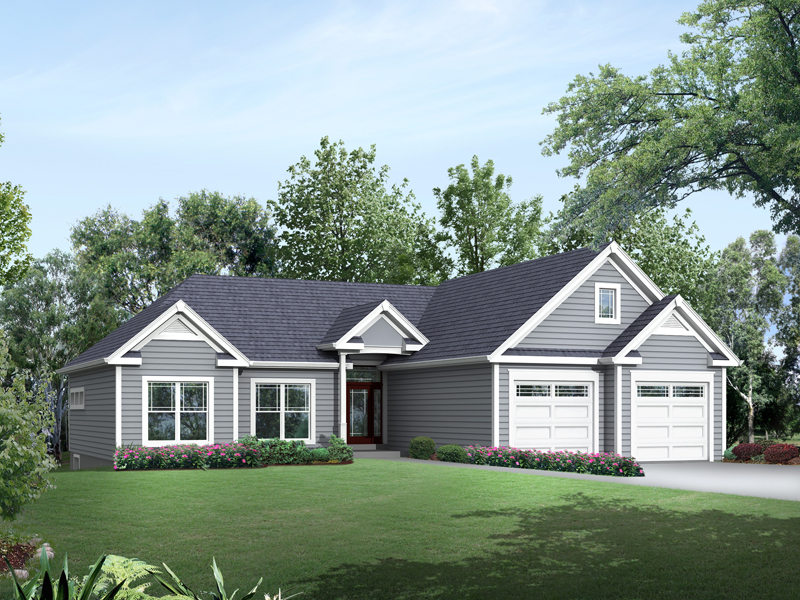 Ranch House Plan Front of Home 121D-0013