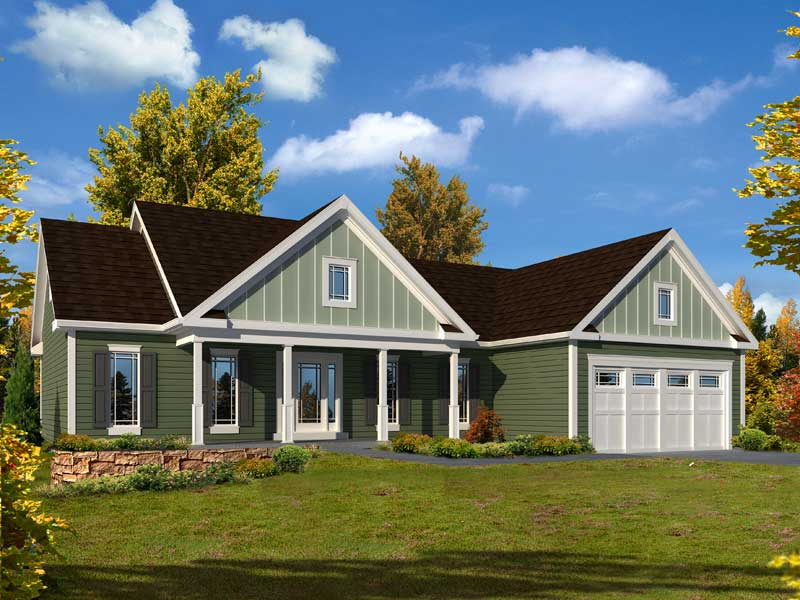 Craftsman House Plan Front of Home - 121D-0024 | House Plans and More
