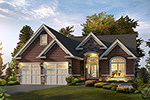 Ranch House Plan Front of Home - 121D-0035 | House Plans and More