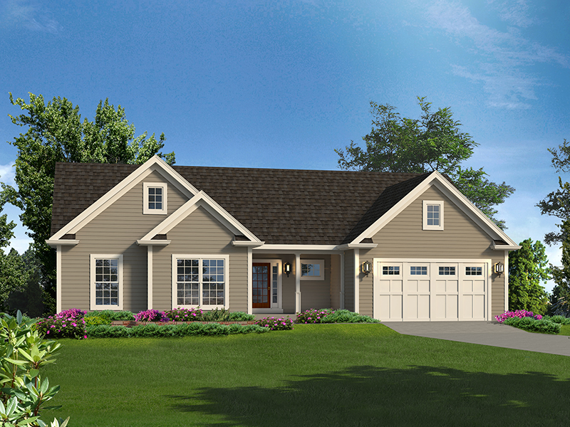 Ranch House Plan Front of Home - 121D-0036 | House Plans and More