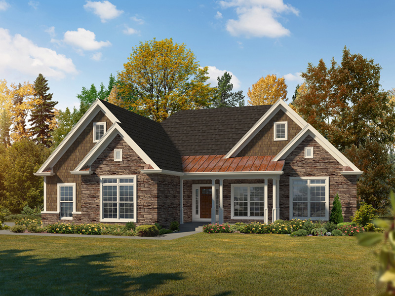 Ranch House Plan Front of Home 121D-0045