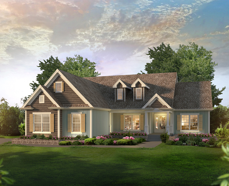 Ranch House Plan Front of Home 121D-0046