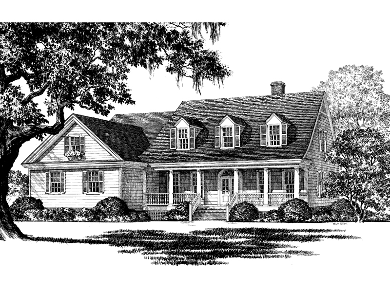 Traditional House Plan Front Image of House 128D-0002