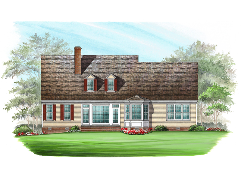 Colonial Floor Plan Color Image of House 128D-0002
