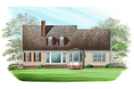Colonial Floor Plan Color Image of House - 128D-0002 | House Plans and More