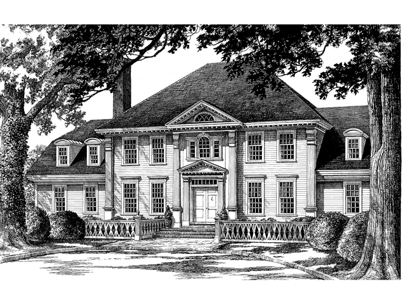 Southern Plantation Plan Front Image of House 128D-0007