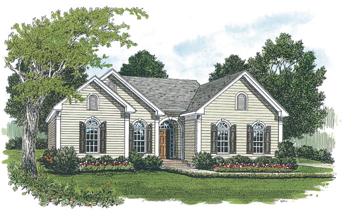 Ranch House Plan Front Image - 129D-0001 | House Plans and More