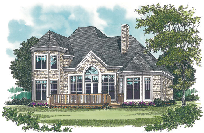 Country French Home Plan Color Image of House 129D-0012